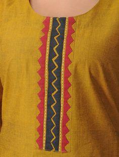 Mustard Mangalgiri Cotton Kurta with Applique Work