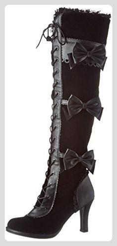 Demonia Damen Glam-300 Kurzschaft Stiefel, Noir (Blk Vegan Leather-Velvet), 40 EU - Stiefel für frauen (*Partner-Link)