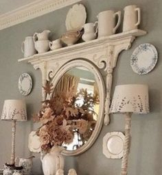 Muebles Shabby Chic, Mirror With Shelf, Ledge Shelf, Cat Wall Shelves, Old Mirrors, Creation Deco, Wrap, Repurposed Furniture, Repurposed Items