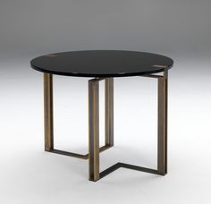 Black and Gold Round Table by Paolo Castelli S.p.A.