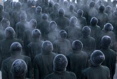 New People's Liberation Army (PLA) recruits stand in formation during a training session in cold winter temperatures at a military base in Heihe, Heilongjiang province, China