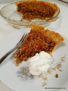 Oatmeal Pie--Recipe at Ancestors in Aprons. Click on picture.