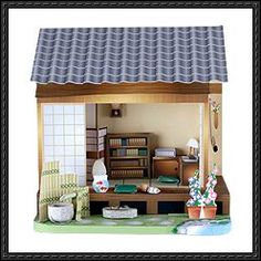 A Japanese Study Room Paper Diorama Free Papercraft Download
