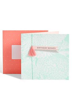 Floral Background Tassel Birthday Card