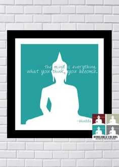 Buddha Art Print - Quote / Silhouette - Inspirational / Teal - 7 x 7 Modern Minimalist  Print . Wall Art / Wall Decor / Home Decor / Yoga on Etsy, $10.00