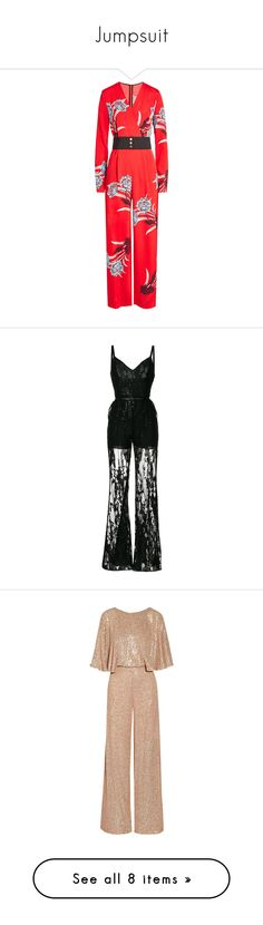 """Jumpsuit"" by cutthroat47 ❤ liked on Polyvore featuring jumpsuits, red, red jumpsuit, red jump suit, silk jumpsuit, floral wide leg jumpsuit, flower print jumpsuit, black, gowns and playsuits"