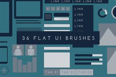 36 Flat UI Photoshop Brushes