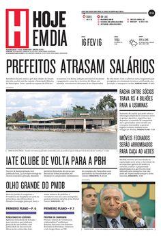 Capa do dia 16/02/2016 #HojeEmDia #Jornal #Notícias #News #Newspaper