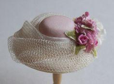 Pretty 1/12 scale handmade dollhouse miniature silk hat via Etsy
