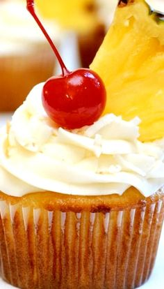 Pina Colada Cupcakes with Coconut Cream Cheese Frosting Recipe