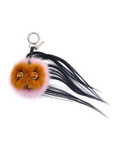 V2RGV Fendi Mini Beak Mohawk Fur Monster Charm for Handbag, Orange/Pink/Navy