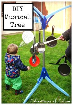 DIY Musical Tree. Easy activity to set up for toddlers simply using household items.