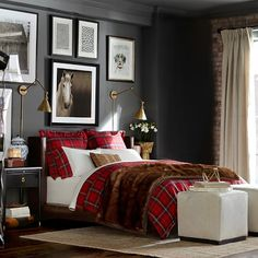 ....asolute ly love the manliness of colors and the furry blanket that expresses animalistic blend...  Tartan Bedding #williamssonoma