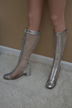 even my size! Rare 60s Silver Mesh Go Go Boots 1960s Space by ModVibeVintage, $289.00