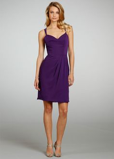 Spaghetti Sraps A-line Short Bridesmaid Dress with Criss Cross Back
