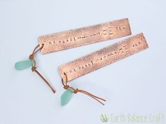 My heart sleeps by the sea, ocean inspired copper and sea glass bookmark