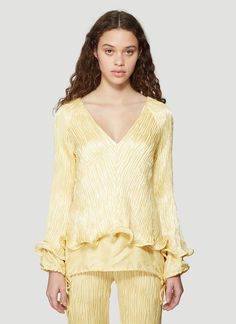 Sies Marjan Freida Crinkled Satin Linen V-Neck Ruffle Top in Yellow size US - 06 Pop Fashion, Fashion Trends, Ruffle Top, Crinkles, Clothes For Sale, Fitness Models, Bell Sleeve Top, Satin, V Neck