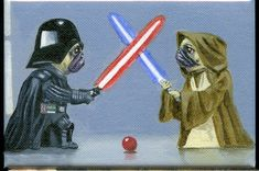 Hey, I found this really awesome Etsy listing at https://www.etsy.com/listing/64941246/pug-duel-jedi-dog-art-magnet