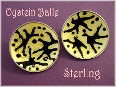 Oystein Balle - Abstract Sterling Silver Enamel Clip Earrings - Modernist Yellow & Black Norway - FREE SHIPPING by FindMeTreasures on Etsy