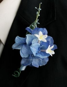 Blue Wedding Flowers 25 Awesome Blue Hydrangea Boutonniere - weddingtopia - Whether it is a rose or a tulip, the proper fit is here. Boutonnieres, Hydrangea Boutonniere, Blue Boutonniere, Groomsmen Boutonniere, Groom And Groomsmen, Hydrangea Corsage, Blue Hydrangea Bouquet, Blue Corsage, Prom Corsage And Boutonniere