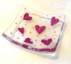 Copper love hearts fused glass trinket dish bowl earrings rings £7.95