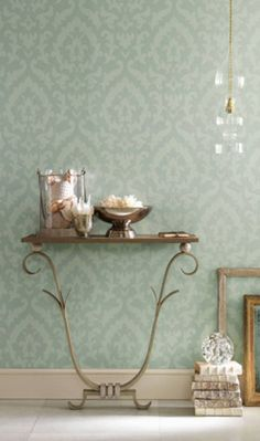 Inspiration- Italian Theatre: Osborne & Little's Concetti Wallpaper- A floral contemporary damask print etched with understated metallic lines. Damask Wallpaper, Green Wallpaper, Home Wallpaper, Osborne And Little Wallpaper, Light Green Walls, Ceiling Medallions, Home Decor Inspiration, Modern, Ornament