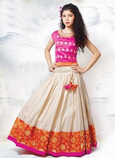 Dress up your little diva in a plush Raw Silk Lehenga Choli Pink,Cream colour of the Lehenga Choli looks charming and pretty. This Lehenga Choli will make your dear little angel look adorable for any . Choli Designs, Lehenga Designs, Blouse Designs, Dress Designs, Kids Party Wear Dresses, Dresses Kids Girl, Designer Kurtis, Designer Wear, Designer Dresses