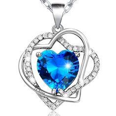 Collar para Mujer Doble Corazón Entrelazado con Corazón en Cristal Azul-Grabado: Te Amo, Chapado en Oro Blanco