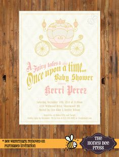 Once Upon a Time baby shower invitiaton - Fairy Tales baby shower invitaiton - Carriage baby shower invitaiton - Item 0211