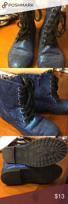 Justice sparkle high tops Worn but still in great condition! Very cute! Justice Shoes Ankle Boots & Booties