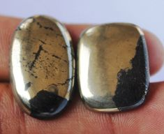 Pyrite Gemstone 02 Pcs Cabochons 31.5 CTS Oval AAA+ Quality Pyrite Natural Gemstone for Wirewrapping DIY Ring Pendants Jewelry Supplies http://etsy.me/2D2NLen #supplies #gold #babyshower #valentinesday #oval #beading #goldpyritegemstone #pyritepalmstone #pyriteworrysto