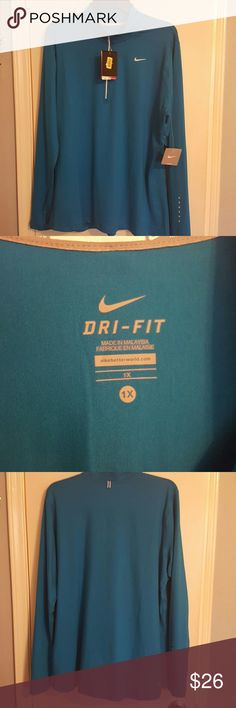 Nike Running Dri-Fit jersey NWT features Dri-Fit which pulls away sweat to help keep you dry. Reflections on sleeve and front and back of jesery for saftey running or walking at night. Portal for hassle free earphone cords. No trades. No holds. Nike Tops Sweatshirts & Hoodies