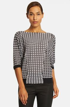 Lafayette 148 New York Grid Jacquard Sweater available at #Nordstrom