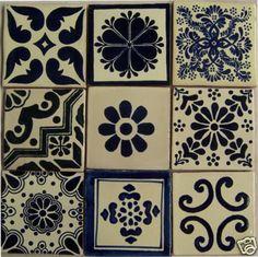 9  Hand Painted Talavera Mexican Tiles 4 x 4 por Casadaya en Etsy