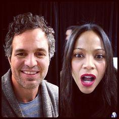 Mark Ruffalo and Zoe Saldana making funny faces with the #TwitterMirror before #InfinitelyPolarBear#Sundance premiere! via @SundanceInstitute