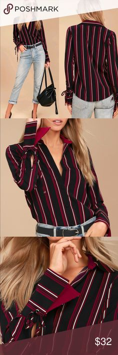 🆕 EVIDNT Black Striped Tie-Cuff Long Sleeve Top From the office to happy hour, the EVIDNT Black Striped Tie-Cuff Long Sleeve Top will get you there! Black, white, and wine red stripes cover this lightweight woven button-up top with a collared neckline, rounded hem, and long sleeves. Cuffs secure with cute tie accents (with silver grommets). EVIDNT Tops