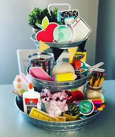Super excited for of my own children to experience back to school this year! Put this together for a fun little photo shoot! of this fun stuff was found School Tables, Galvanized Tray, Christmas Information, Back To School Party, Tray Styling, School Decorations, Room Decorations, Tiered Stand, Tray Decor