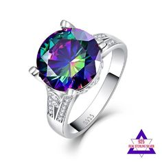Round Cut Shiny Rainbow Mystic Topaz Sterling Silver Ring