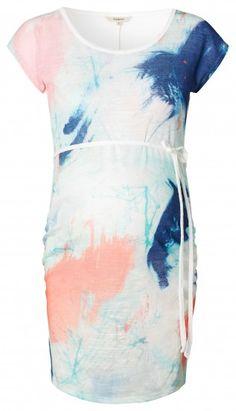 Дамска дълга блуза с къс ръкав за бременни NOPPIES - кремав