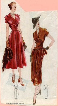 Late 40s red brown bronze satin dress cocktail wear color illustration print ad vintage fashion style
