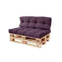 Purple Pallet Sofa Long Back 120 x Cushion Waterproof Euro Outdoor Garden Pallet Furniture Cushions, Outdoor Sofa Cushions, Pallet Bench, Seat Cushions, Purple Furniture, Palette Furniture, Coin Palette, Outdoor Pallet Seating, Decoration Palette