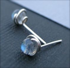 Labradorite and Silver Stud Earrings Handmade by TwistedDesigns, $14.00