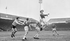 John Sjoberg heads clear in a FA Cup quarter-final between  Leicester City and Norwich City in 1963