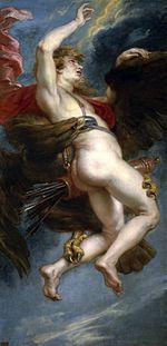 Ganímedes-Não são só as mulheres que despertam o amor do rei dos céus. era príncipe de Troia; ao vê-lo, Zeus se apaixonou por sua beleza, disfarçou-se de águia e o raptou para torná-lo copeiro do Olimpo.
