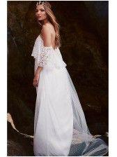 Off Shoulder Backless Long Dress Boho Chic Wedding Dress, White Lace Wedding Dress, Best Wedding Dresses, Wedding Gowns, White Dress, Wedding Shoes, Lace Dress, Lace Ruffle, Bridal Dresses