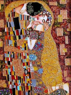 Kiss stained glass painting, inspired by Klimt -- by St. Petersburg artist Iris