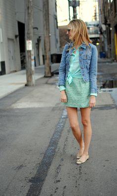 Gap jean jacket, Joe Fresh top, Zara skirt, Ferragamo flats ,  Karen Walker sunglasses, LV bag