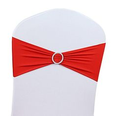 V-Dragons Stretch Chair Cover Band With Buckle Slider Sashes Bow Wedding Banquet Party Decorations (100, Red)
