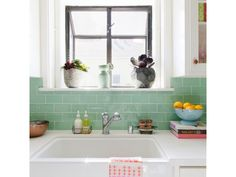 """"""" Our Lush Surf pale green glass subway tile styled by for her own kitchen. Exterior Tiles, Kitchen Tiles, Kitchen Flooring, Glass Subway Tile, Kitchen Space, Interior Tiles, Modwalls, Modern Tiles, Home Fix"""