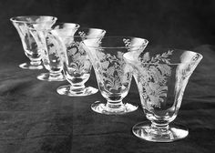 Tiffin Fuchsia Etched Oyster or Fruit Glasses by TheRealmCollectibles, $36.99